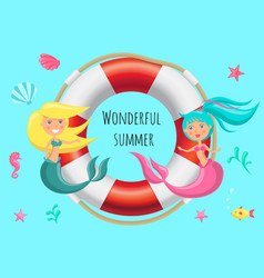 wonderful summer poster with lovely mermaids sit vector image