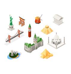 World famous landmarks - colorful isometric set vector