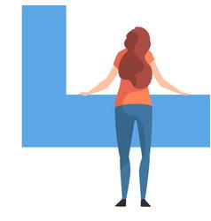 young woman organizing rectangular geometric shape vector image