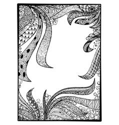 zentangle black frame vector image