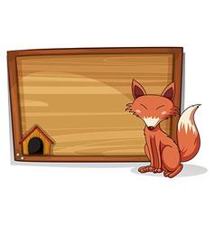 A fox beside an empty board vector image vector image