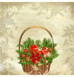 christmas baskets vector image vector image