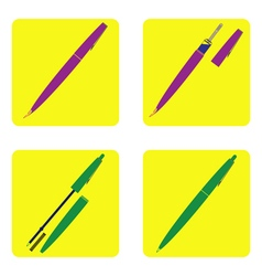 color icon set with pen vector image