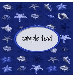 Creatures of sea clams on a dark blue background vector image vector image