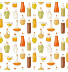 Different food oil in bottles liquid natural vector