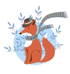 Funny foxy with scarf vector image vector image