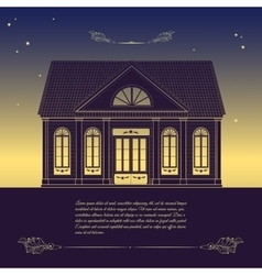 retro with old house floral vector image vector image