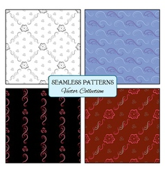 set seamless pattern curl and flowers vector image vector image