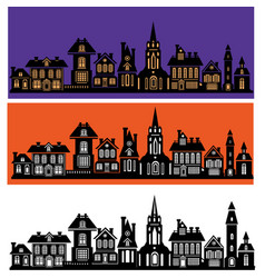 silhouette of stylized facades of buildings vector image vector image