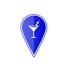 blue map pointer with cocktail location vector image vector image