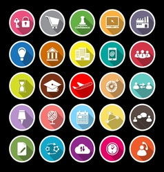 Business connection flat icons with long shadow vector image vector image