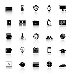 Businessman item icons with reflect on white vector image vector image