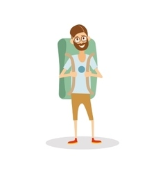 Man hipster tourist with backpack ready to travel vector image