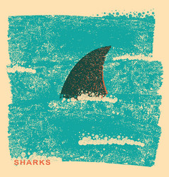 shark fin in oceanvintage poster on old paper vector image