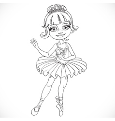 Beautiful little ballerina girl tiara outlined vector image