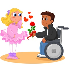 Boy on wheelchair and pretty girl vector image vector image