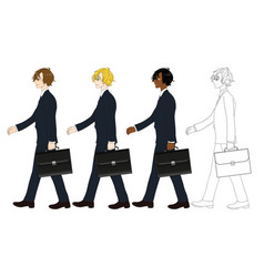 business man walking and holding briefcase vector image vector image