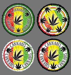 cannabis leaf silhouette design jamaican flag back vector image vector image