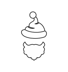 Christmas hat with pompom and beard vector