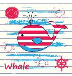 Cute background with whale vector image vector image