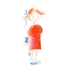 Little Girl Holding a Doll vector image vector image