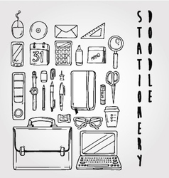 stationery doodle set collection vector image vector image
