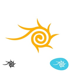 Sun tribal spiral logo vector image
