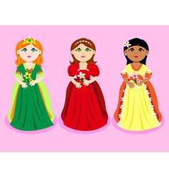 Trio of cartoon princesses vector image