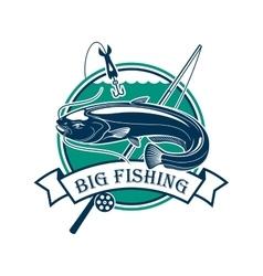 Big Fishing sport club emblem vector image