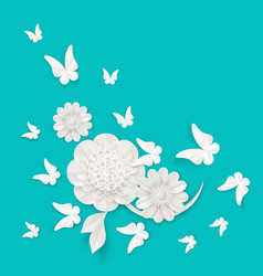 flora origami elements of luxury white flower and vector image vector image