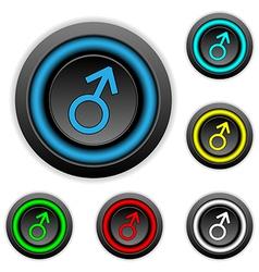 Gender male symbol buttons set vector image vector image