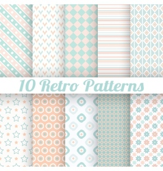 10 Pastel retro different seamless patterns tiling vector