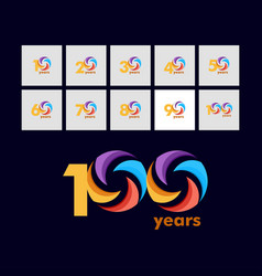 100 year anniversary rainbow template design vector