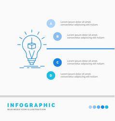 3d cube idea bulb printing box infographics vector image