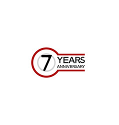 7 years anniversary with circle outline red color vector