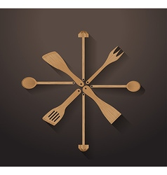 A collection of wooden kitchen utensils vector image