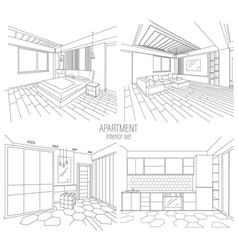 Apartment modern style interior set vector