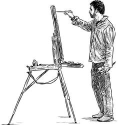 Artist paints in open air vector
