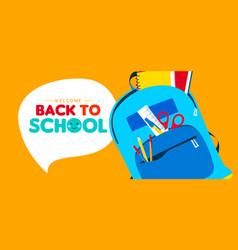 Back to school children school supply backpack vector