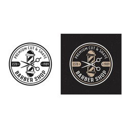 barbershop two style vintage round badge vector image