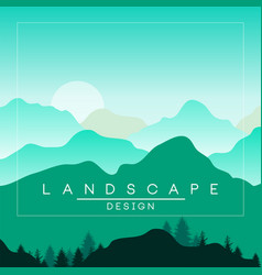 Beautiful peaceful mountains and hills landscape vector
