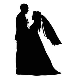 Black-and-white contour image of the dancing bride vector