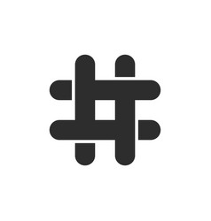 Black hashtag icon with cut ends vector