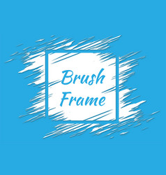 blue grunge background with white brush paint ink vector image