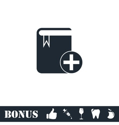 Book add icon flat vector