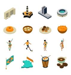 Brazil Isometric Icons Set vector