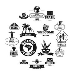 Brazil travel logo icons set simple style vector