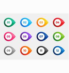 Bullet points from one to twelve in many colors vector
