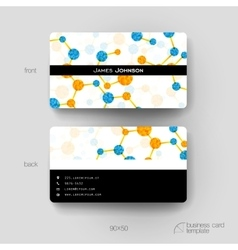 Business card template with DNA molecule vector