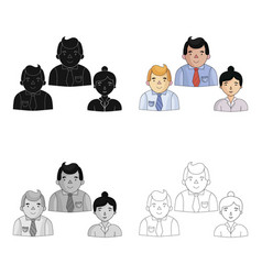 business partners icon in cartoon style isolated vector image